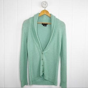 Etcetera Mint Green Knit Button Up Cardigan